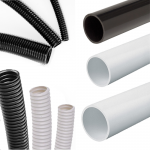 Round PVC conduit - Rigid (sold per 3M length), Black, 20mm