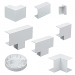 White PVC mini trunking accessories - 16x16mm, Ceiling tee