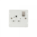 Definity 1 gang switched socket white insert - brushed stainless