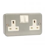 Metal clad 2 gang switched socket