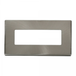 Definity brushed stainless 2 gang 6 in-line aperture cover plate