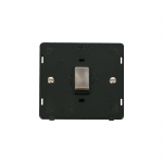 Definity 20A double pole switch black insert - brushed stainless