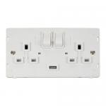 Definity 2 gang switched socket with 1 USB - white