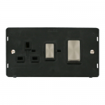 Definity 45A cooker switch & socket black insert - brushed stainless