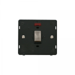 Definity 20A double pole switch with neon black insert - brushed stainless