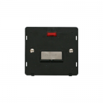 Definity un-switched fused connection unit with neon black insert - brushed stainless