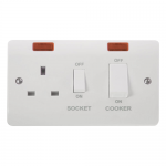 Mode 45A cooker switch with socket and neons