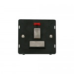 Definity switched fused connection unit with neon black insert - brushed stainless