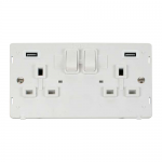 Definity 2 gang switched socket with 2 USB - white