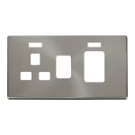 Definity brushed stainless cover plate for 45A switch with socket and neons