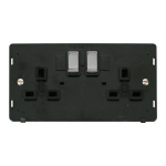 Definity 2 gang switched socket black insert - chrome