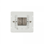 Definity 2 gang light switch white insert - brushed stainless
