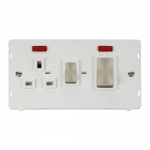 Definity 45A cooker switch & socket with neons - insert with brushed stainless