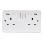 Mode 2 gang switched socket with USB