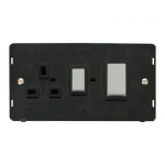 Definity 45A cooker switch & socket black insert - chrome