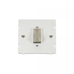 Definity 45A double pole switch white insert - brushed stainless