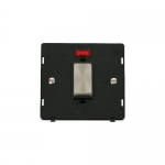 Definity 45a double pole switch with neon black insert - brushed stainless