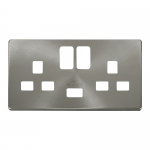 Definity brushed stainless cover plate for 2 gang switched socket with USB