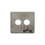 Definity brushed stainless cover plate and knobs for 2 gang dimmer