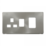 Definity brushed stainless cover plate for 45A switch with socket