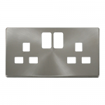 Definity brushed stainless cover plate for 2 gang switched socket