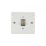 Definity 20A double pole switch white insert - brushed stainless