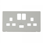 Definity white cover plate for 2 gang switched socket with USB