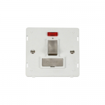 Definity switched fused connection unit with neon white insert - brushed stainless