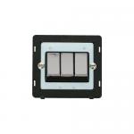 Definity 3 gang light switch black insert - chrome