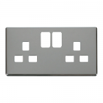Definity chrome cover plate for 2 gang switched socket