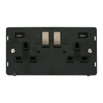 Definity 2 gang switched with 2 x USB socket black insert - brushed stainless