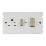 Definity 45A cooker switch & socket white insert - brushed stainless