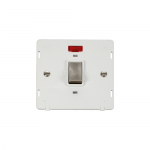 Definity 20A double pole switch with neon white insert - brushed stainless