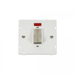 Definity 45a double pole switch with neon white insert - brushed stainless
