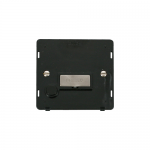 Definity fused connection unit with flex outlet black insert - brushed stainless