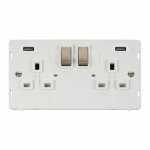 Definity 2 gang switched with 2 x USB socket white insert - brushed stainless