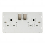 Definity 2 gang switched socket white insert - brushed stainless
