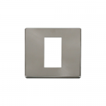 Definity 1 gang single aperture brushed stainless media plate