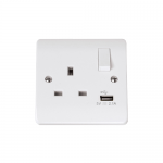 Mode 1 gang switched socket with USB