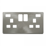 Definity brushed stainless cover plate for 2 gang switched socket with 2 x USB