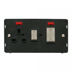 Definity 45A cooker switch & socket with neons black insert - brushed stainless