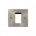 Define brushed stainless 1 gang plate for 1 media module