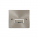 Define brushed stainless unswitched fused connection unit - white insert