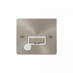 Define brushed stainless unswitched fused connection unit with flex outlet - white inserts