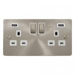 Define brushed stainless 2 gang 2 x USB socket - white insert