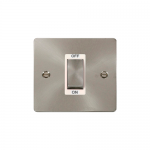 Define brushed stainless 45A double pole switch switch - white insert