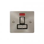 Define brushed stainless switched fused connection unit with neon - black insert