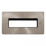 Define brushed stainless 2 gang plate for 6 minigrid modules (1x6) - black insert
