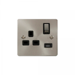 Define brushed stainless 1 gang USB socket - black insert