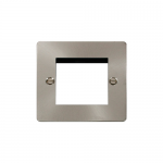 Define brushed stainless 1 gang plate for 2 media modules